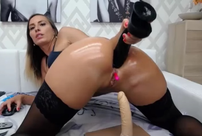 Anal dildo all in the ass
