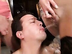 Two sluts peeing inside a guy's mouth