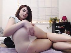 19yo masturbates with huge dildo