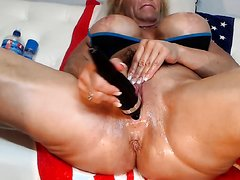 Fit MILF Plays with her Oversized Clit