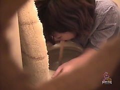 Cute girl puking in toilet