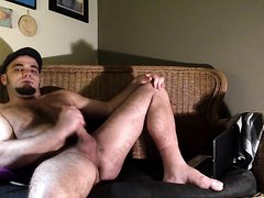 Handsome beefy guy wanking