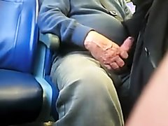 Spy - old man shows cock in bus