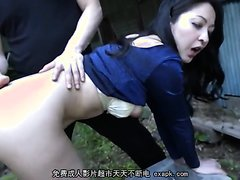[Censored] Japanese Mature Anal Slut , piss and enema outside