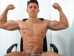 Bodybuilder AngeloFit teases with muscles and hard cock