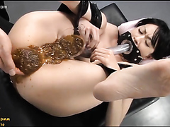 Bound Asian shit drinking