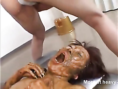 Cute Japanese girl eats shit while being fucked