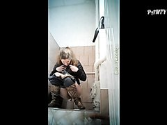 Sexy Russian pooping in a toilet
