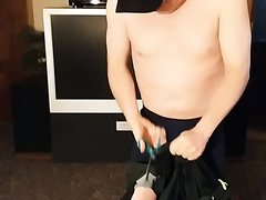 slave cuts off clothes, shirt, shorts, underware