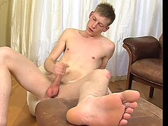 Hot blonde English lad rubbing one out