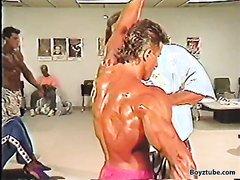 Bodybuilder Oiling