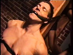 Muscle Gloved Master and slave--nipple torture