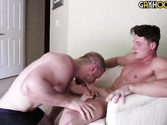 Blond bodybuilder with another guy