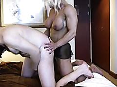 Female bodybuilder pegging a wimp