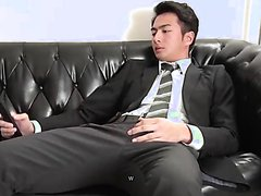 young suit man wank