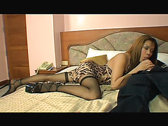 Asian shemale in stockings fucked in the ass