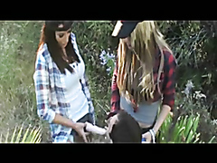Dominant babes team up on a loser