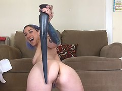 she takes every inch of xl toy in her ass