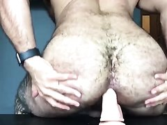Hairy ass riding a dildo