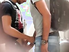 Amateurs caught in public bathroom (short video)