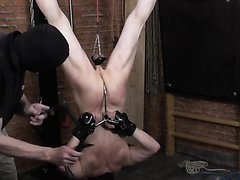 slave  electro whipped and hung by feet and balls part 2