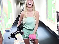 Girl farts in hallway