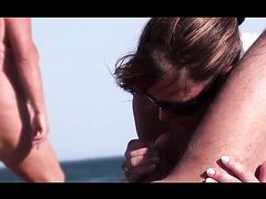 Wife sucks dick at the nudist beach