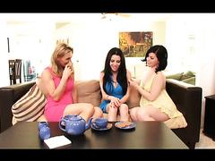 Lesbian milfs seduce a teen slut