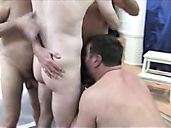 Four old guys having sex