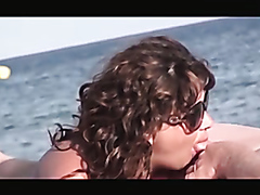 One hour of mature couples having sex on the beach
