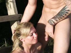 German girl in deepthroat scene with messy puking
