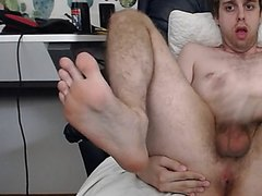 Masturbating On His Chair Feet up