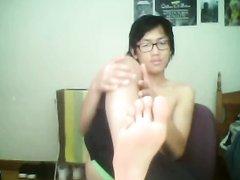 Nerdy Asian Foot Flash