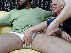 Amazing amateur blonde sucks a huge dick