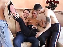 Blonde slut drilled by three guys