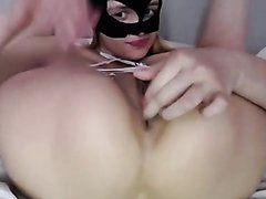 Masked Cutie Rubs One Out
