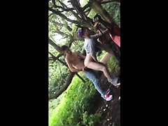 2 guys fuck in the woods