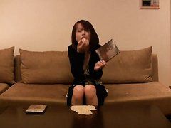 Japanese Girl tries to sell dvd but pukes all over herself