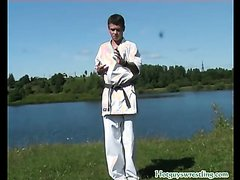 Karate twink next to Lake