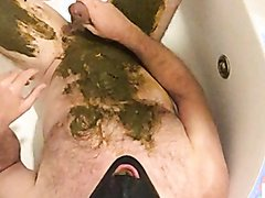 Scat session in bath with smothering and fucking