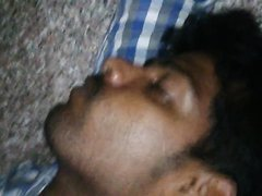 Indian guy cumming on his sleeping friend's face