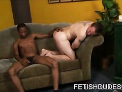 Black dude spanking white guy