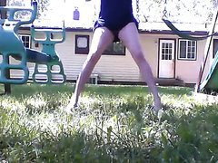 Nonchalant panty wetting on swing