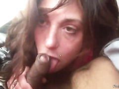 Hooker sucks a cock in the car