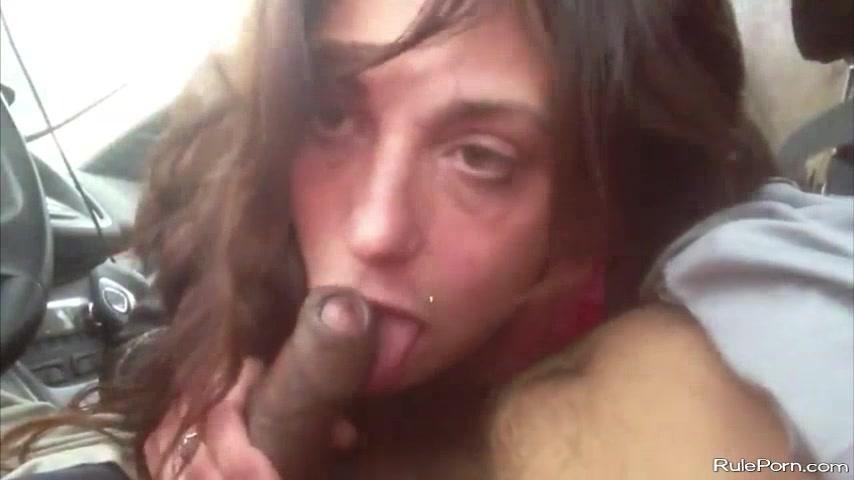 Black hooker sucks a dick