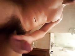 Guy cumming in shower