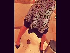 Milf eating shit in a public toilet