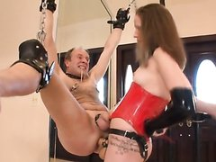 Young Mistress Strapon Fucks old Tied up Slave