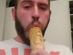 Deepthroating and gagging on a big dildo with my own shit