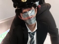 tape gagged Japanese executive slave and police man